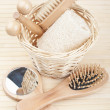 Bath accessories on the bamboo mat — Stock Photo
