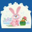 Pink rabbit with a gift — Stock Vector