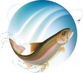 Jumping trout — Stock Vector