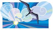 Black sea-bird — Stock Vector