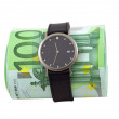Foto de Stock  : Time is money concept. Watch and 100 euro bills, over white.