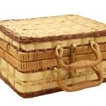 Wicker box for needlework over white — Stock Photo #5218793