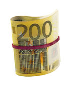 Rolled 200 euro banknotes — Stock Photo