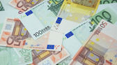 50, 100 and 200 euro banknotes background — Stock Photo