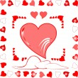 Love heart greeting wedding card — Imagen vectorial