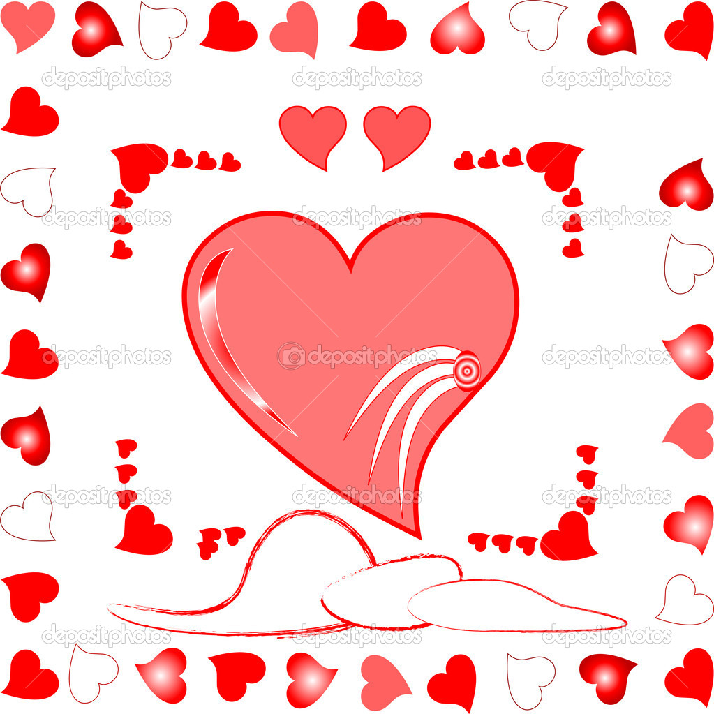 Love heart greeting wedding card romantic background. vector illustration — Stock Vector #5038749