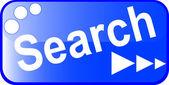Szukaj niebieski przycisk web na białym tle — Wektor stockowy
