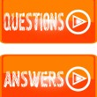 Stock Vector: Orange sign icon questions answers