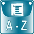 A-Z blue Button dictionary search list find go - Stock Vector