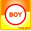 Stop sign only girl and stop boy - Stock Vector