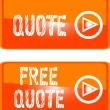 Free quote web button orange - Stock Vector