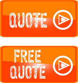 Free quote web button orange — Stock Vector