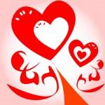 Красочные цветочные сердца дизайн фона — Cтоковый вектор