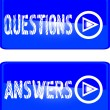 Blue button questions answers — Stock Vector