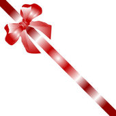 Gift bow red satin with one ribbon isolated on white — Stock Vector