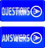 Blauwe knop vragen antwoorden — Stockvector