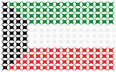 National flag from kuwait country — Stok Vektör