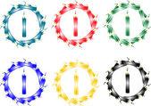 Abstracte knop van kleurpotloden geïsoleerd op wit — Stockvector