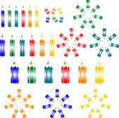 Färgade skola art pennor i olika varianter — Stockvektor