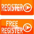 Register web button orange sign — Stock Vector