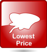 Red web icon lowest price — Stock Vector