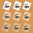 A beautiful abstract human female eye concept in different colors — Stock Vector