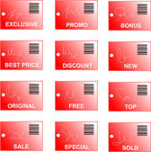Red tag and sticker set with bar codes and abstract sign — Vetor de Stock