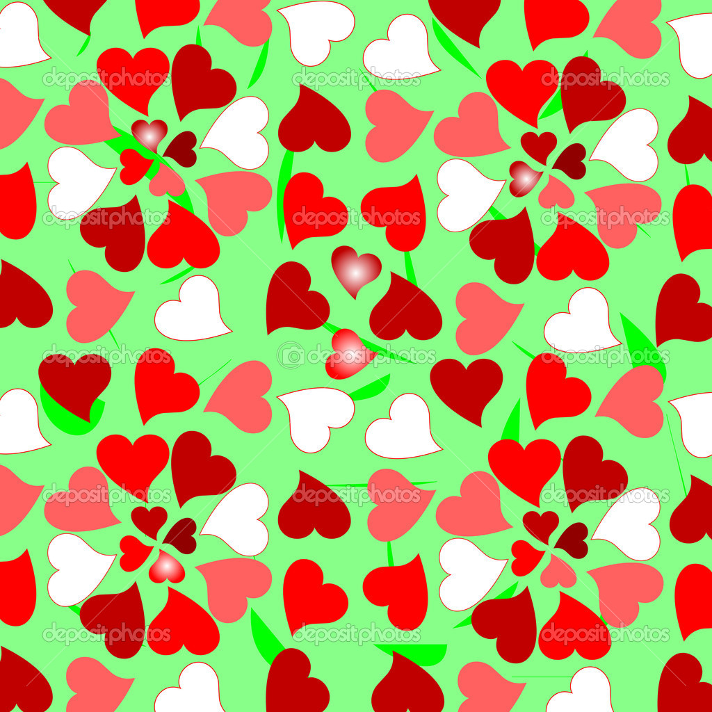 Background with random colorful valentines hearts — Image vectorielle #5284292