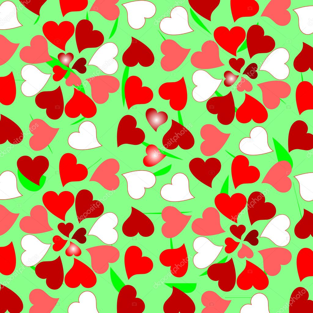 Background with random colorful valentines hearts  Stockvektor #5284292