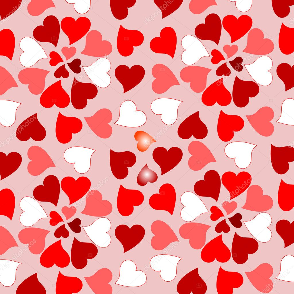 Background with many randomly placed red valentines hearts — Imagens vectoriais em stock #5308906