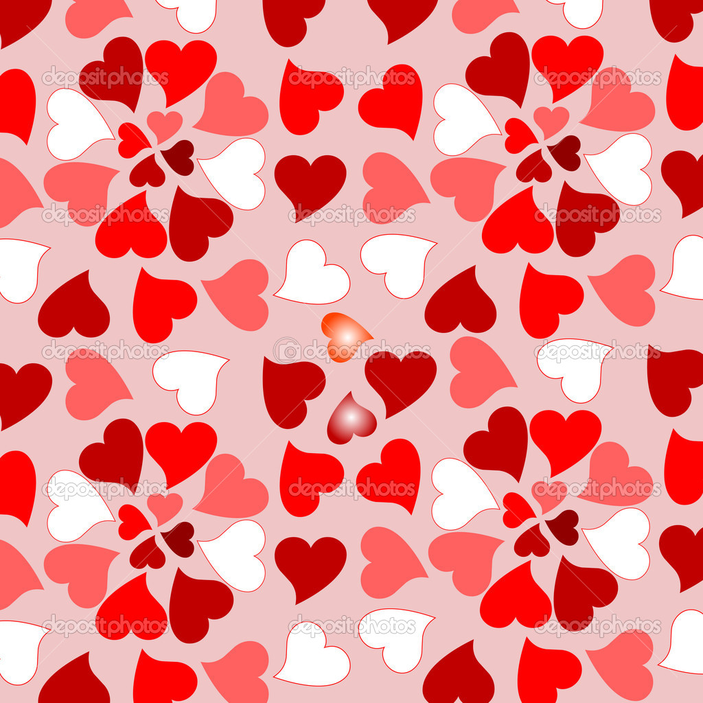 Background with many randomly placed red valentines hearts — Stockvectorbeeld #5308906