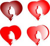Ragazza in cuori colorati amore isolato su sfondo bianco — Vettoriale Stock