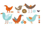 Orange-blue birds vector set — Stock Vector