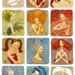 Raster illustrator of woman zodiac signs set - Stock Photo