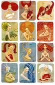 Raster ilustrator kobieta zestaw znaków zodiaku — Zdjęcie stockowe