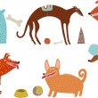 Orange-blue vector dogs set - Imagen vectorial