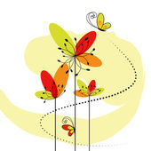 Abstract springtime flower with butterfly — Stock Vector