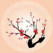 Oriental style painting, Plum blossom — Stock Vector