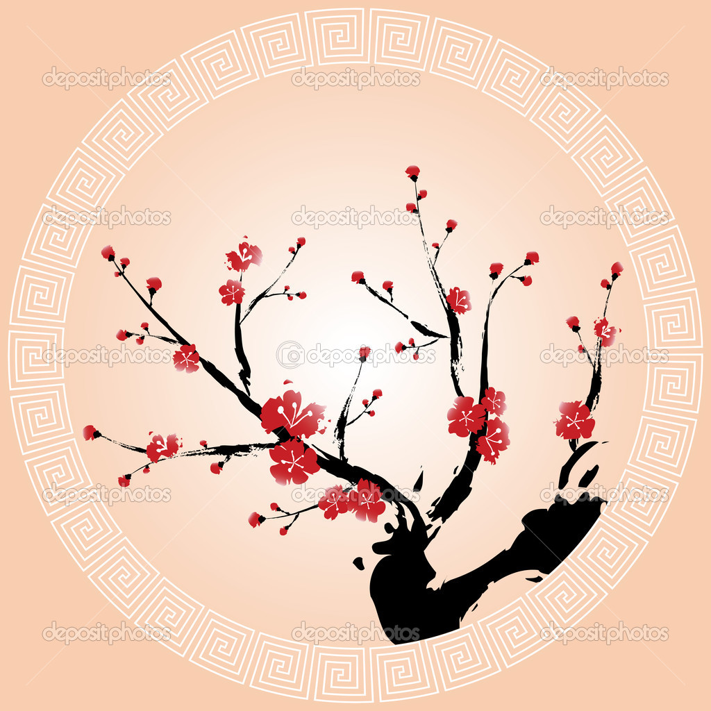 Oriental style painting, Plum blossom  Vettoriali Stock  #5186649