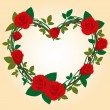 Vector Rose Frame in the shape of heart - Stock Vector