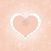 Vintage floral heart with rose greeting card — Wektor stockowy
