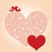 Resumen de tarjeta de felicitación de San Valentín rojo Agapornis corazón rosa — Vector de stock