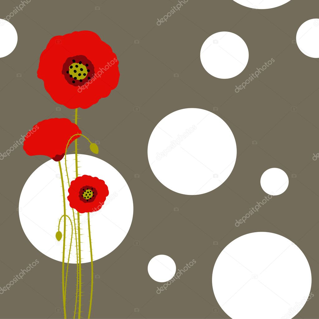 Abstract red poppy on floral seamless pattern background  Vettoriali Stock  #5209468