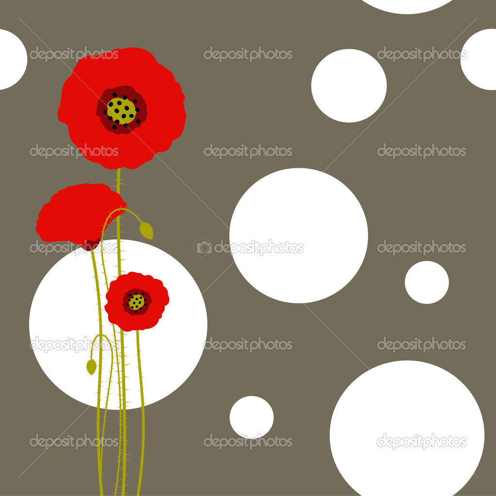 Abstract red poppy on floral seamless pattern background — Stock Vector #5209468