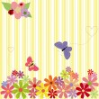 Springtime flowers & butterflies on yellow stripe background - Stock Vector