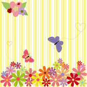 Springtime flowers & butterflies on yellow stripe background — ストックベクタ