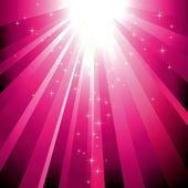 Sparkling stars descending on magenta light burst — Stock Vector