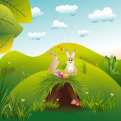 Springtime Easter holiday landscape wallpaper — Stock Vector
