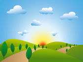 Springtime landscape green fields trees with blue sky — Stockvector