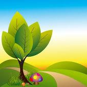 Springtime wonderland tree and colorful mushroom — Stock Vector